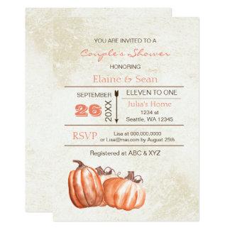 Rustic watercolor pumpkins Fall Bridal Shower Card