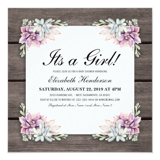 Rustic Watercolor Succulent Floral Baby Shower Card