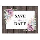 Rustic Watercolor Succulent Floral Save the Date Postcard