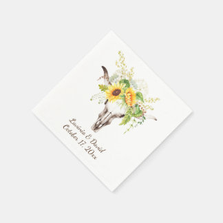 Rustic Watercolor Sunflowers Long Horn Cow Napkins Paper Napkins