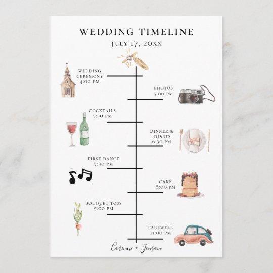 Rustic Watercolor Wedding Timeline Programme