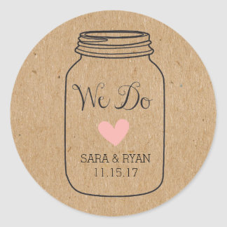 "Rustic, ""We Do"" Stickers with Mason Jar"
