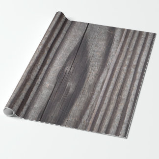 Rustic Weathered Grey Wood Post Wrapping Paper