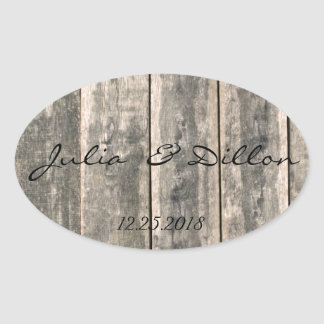 Rustic Weathered Wood Oval Sticker