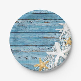Rustic Weathered Wood Starfish Netting | blue 7 Inch Paper Plate