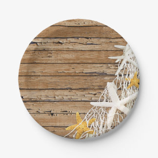 Rustic Weathered Wood Starfish Netting | brown 7 Inch Paper Plate