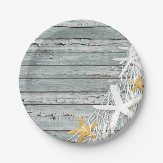 Rustic Weathered Wood Starfish Netting | grey 7 Inch Paper Plate