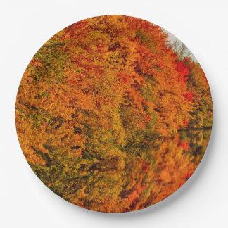 Rustic Wedding Amazin Fall Foliage Stunning Photo 9 Inch Paper Plate