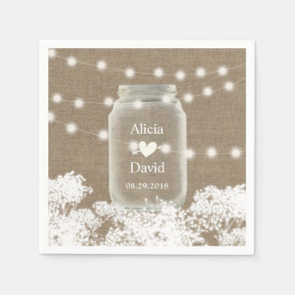 Rustic Wedding Baby's Breath String Mason Jar Disposable Napkins