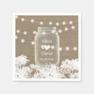 Rustic Wedding Baby's Breath String Mason Jar Disposable Serviette