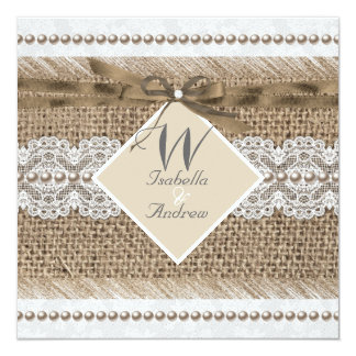 Rustic Wedding Beige lace Burlap Pearl White Card