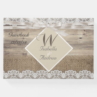 Rustic Wedding Beige Lace Wood Burlap Guestbook