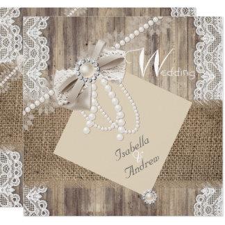 Rustic Wedding Beige Pearl Lace Wood Burlap 3 Card