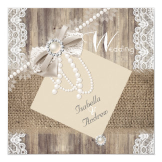 Rustic Wedding Beige Pearl Lace Wood Burlap 3 Card