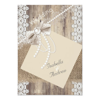 Rustic Wedding Beige Pearl Lace Wood Burlap 4 Card