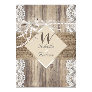 Rustic Wedding Beige Pearl Lace Wood Burlap Card