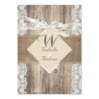 Rustic Wedding Beige White Lace Wood Burlap 2 13 Cm X 18 Cm Invitation Card