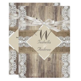 Rustic Wedding Beige White Lace Wood Burlap 2a Card