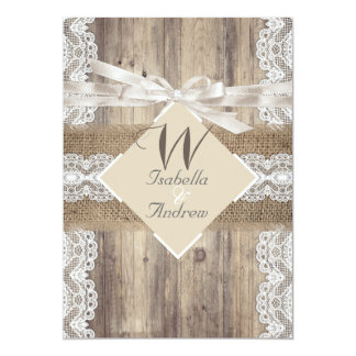 Rustic Wedding Beige White Lace Wood Burlap 2a Card