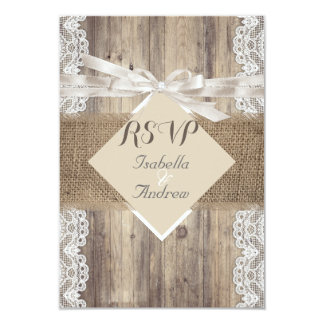 Rustic Wedding Beige White Lace Wood RSVP Card