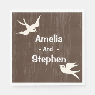 Rustic Wedding Brown Wood White Lovebirds Doves Disposable Serviettes