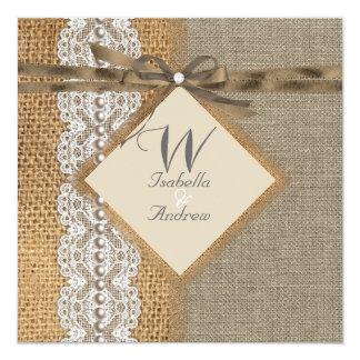 Rustic Wedding Burlap Hessian Lace Pearl 13 Cm X 13 Cm Square Invitation Card