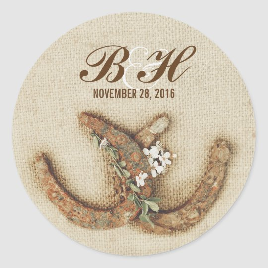 rustic wedding burlap horseshoes stickers