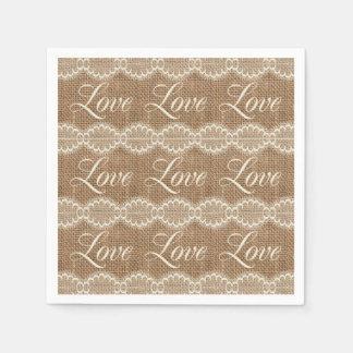 Rustic Wedding Burlap Lace Love Disposable Napkins
