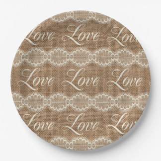 Rustic Wedding Burlap Lace Love Paper Plate