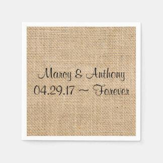Rustic Wedding Burlap Personalized Names Date Disposable Serviette