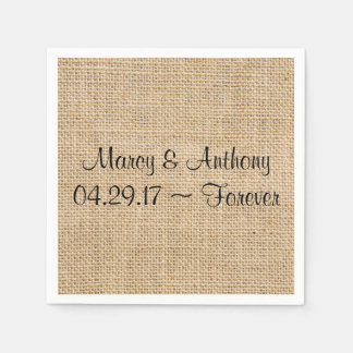 Rustic Wedding Burlap Personalized Names Date Disposable Napkin