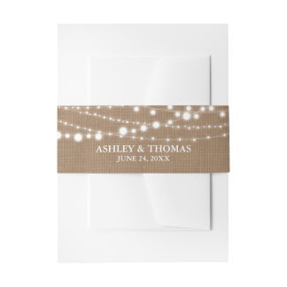 Rustic Wedding  Burlap String Lights Invitation Belly Band
