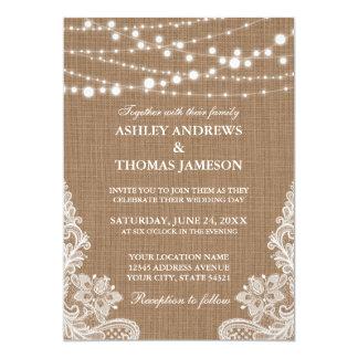 Rustic Wedding Burlap String Lights Lace Card