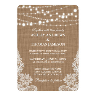 Rustic Wedding Burlap String Lights Lace Card R