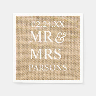 Rustic Wedding Burlap Trendy Wedding Name Date Paper Napkins