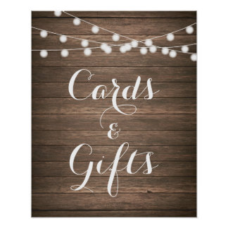 Rustic Wedding Cards & Gifts Poster String lights