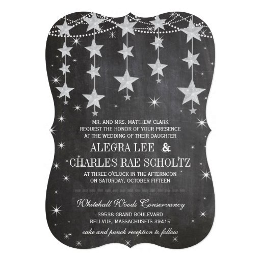 Rustic Wedding Chalkboard Under the Stars Personalized Announcements