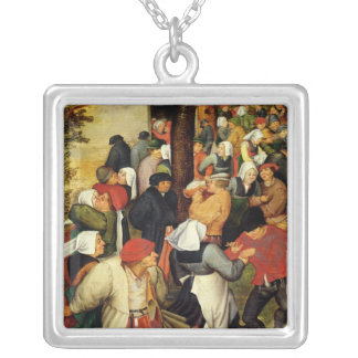 Rustic Wedding, detail of people dancing Silver Plated Necklace