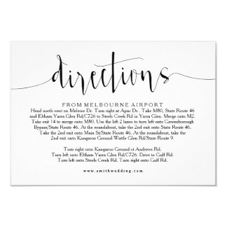 Rustic Wedding Directions Info Card