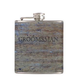 Rustic Wedding Distressed Wood | Manly Groomsman Hip Flask