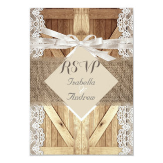 Rustic Wedding Door Beige White Lace Wood RSVP Card