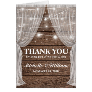 Rustic Wedding Drapes & String Lights Thank You Card