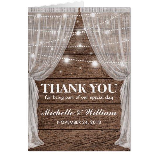 Rustic Wedding Drapes & String Lights Thank You