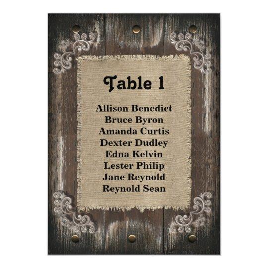 Rustic Wedding Guest Seating List - Wood Burlap