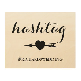 Rustic Wedding Hashtag Sign with Heart and Arrow