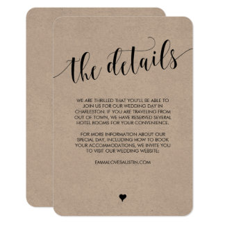 Rustic Wedding Information Details Card