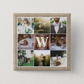 Rustic Wedding Instagram Photo Grid Wood Burlap 15 Cm Square Badge