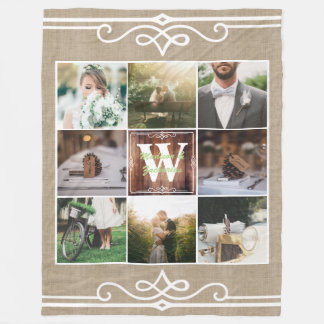 Rustic Wedding Instagram Photo Grid Wood Burlap Fleece Blanket