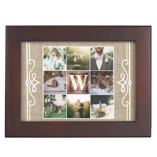 Rustic Wedding Instagram Photo Grid Wood Burlap Keepsake Box
