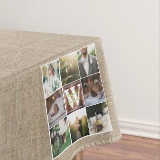 Rustic Wedding Instagram Photo Grid Wood Burlap Tablecloth